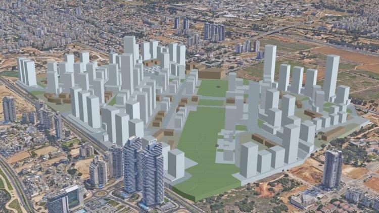 הדמיית המרכז העירוני החדש, שבו נמצא גם מתחם 14 (עיריית נתניה)